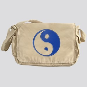 Shiny Blue Yin Yang Symbol Messenger Bag