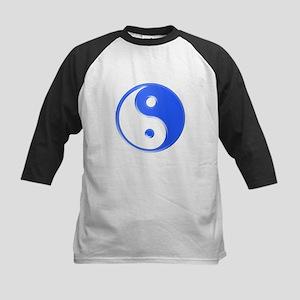 Shiny Blue Yin Yang Symbol Baseball Jersey