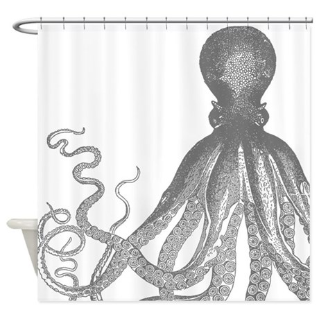 Vintage Octopus Wood Block Print Shower Curtain By V Ink