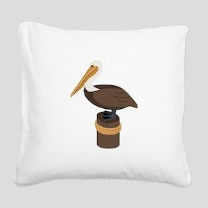 Brown Pelican Square Canvas Pillow