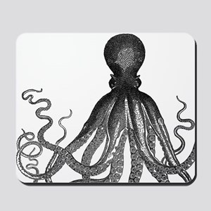 vintage octopus wooden block print Mousepad