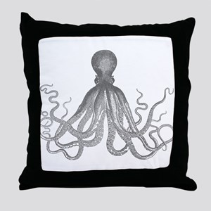 vintage octopus monotone design Throw Pillow