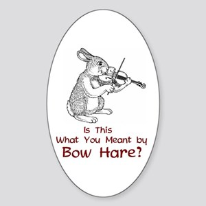 Bow Hare Oval Sticker