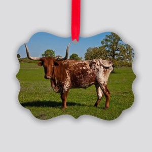 Texas Longhorn Picture Ornament