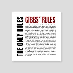 "Gibbs' Rules Square Sticker 3"" x 3"""