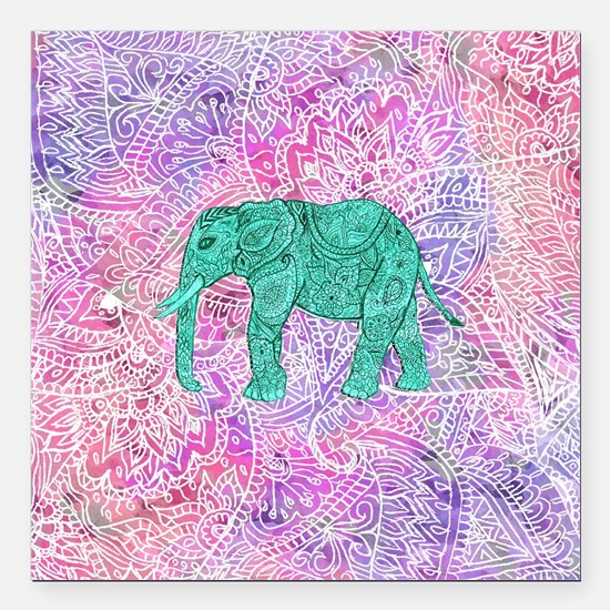 """Teal Tribal Paisley Elep Square Car Magnet 3"""" x 3"""""""