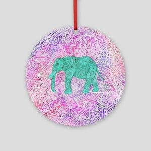 Teal Tribal Paisley Elephant Purple Round Ornament