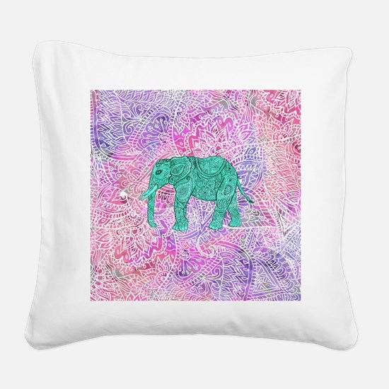 Teal Tribal Paisley Elephant  Square Canvas Pillow