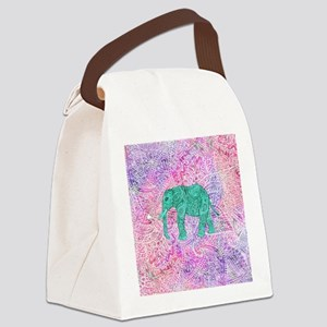 Teal Tribal Paisley Elephant Purp Canvas Lunch Bag