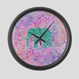 Teal Tribal Paisley Elephant Purp Large Wall Clock