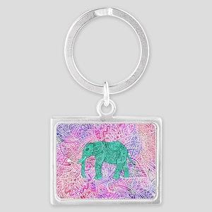 Teal Tribal Paisley Elephant Pu Landscape Keychain