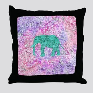 Teal Tribal Paisley Elephant Purple H Throw Pillow