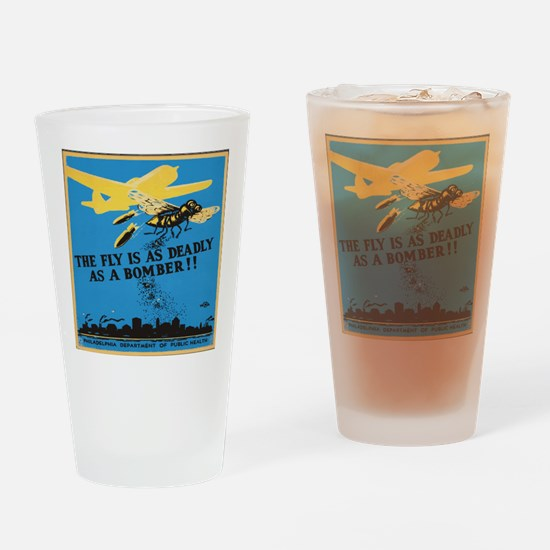 Fly is as deadly as a bomber Drinking Glass