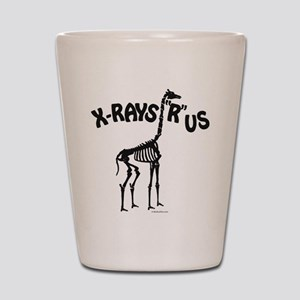Xrays R us, black on white Shot Glass