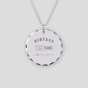 Vintage 75th Birthday Necklace Circle Charm