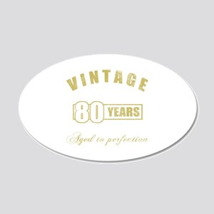 Vintage 80th Birthday 20x12 Oval Wall Decal