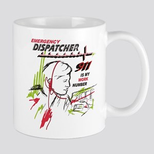 911 dispatcher, red and green Mugs