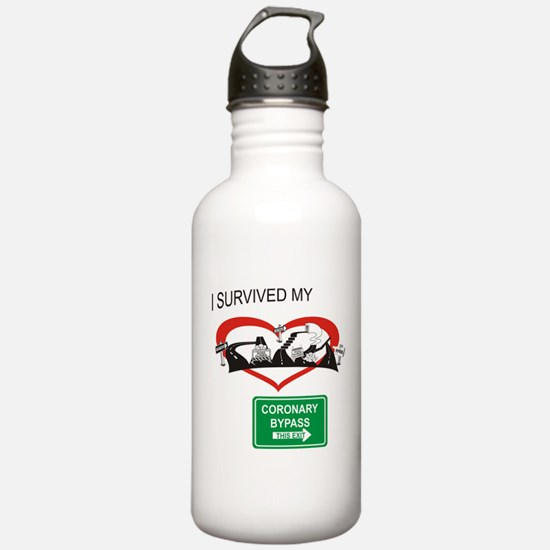 I survived my coronary bypass Water Bottle