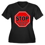 Stop Believi Women's Plus Size V-Neck Dark T-Shirt