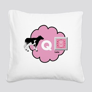 Cow Q Late Square Canvas Pillow