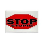 Stop Stupid Rectangle Magnet (10 pack)