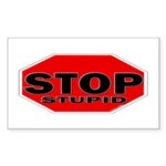 Stop Stupid Sticker (Rectangle 10 pk)