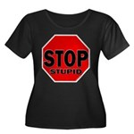 Stop Stu Women's Plus Size Scoop Neck Dark T-Shirt