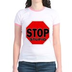 Stop Stupid Jr. Ringer T-Shirt