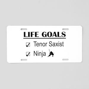 Tenor Saxist Ninja Life Goa Aluminum License Plate