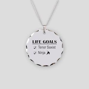 Tenor Saxist Ninja Life Goal Necklace Circle Charm