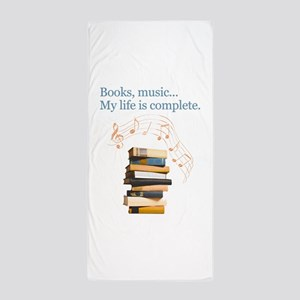 Books and music Beach Towel
