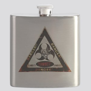 Zombie Danger sign Flask