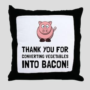 Vegetables Bacon Throw Pillow