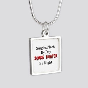 Surgical Tech/Zombie Hunte Silver Square Necklace