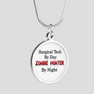Surgical Tech/Zombie Hunter Silver Round Necklace