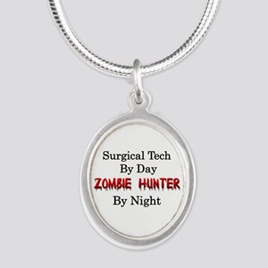 Surgical Tech/Zombie Hunter Silver Oval Necklace