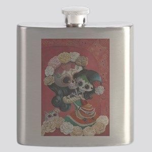 Mexican Skeletons - Mother with Daughter Flask