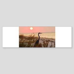 Heron at Sunset Sticker (Bumper)