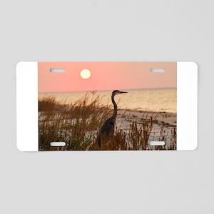 Heron at Sunset Aluminum License Plate