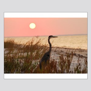 Heron at Sunset Posters