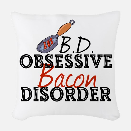 Funny Bacon Woven Throw Pillow