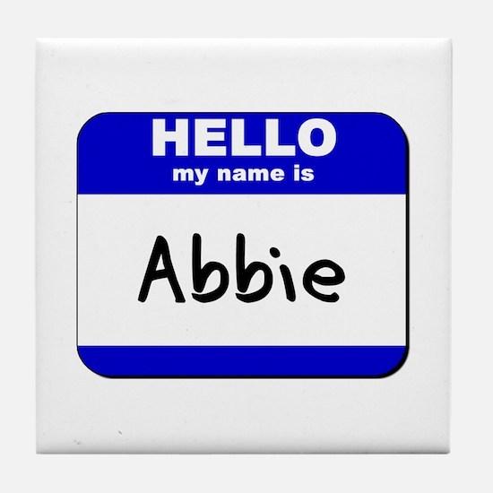 hello my name is abbie  Tile Coaster