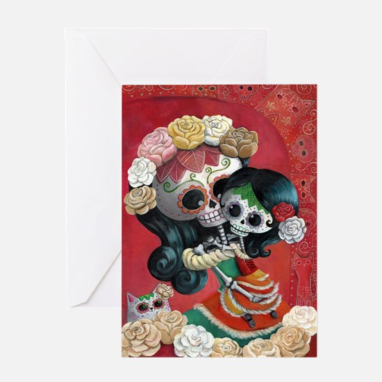 Mexican Skeletons - Mother with Daughter Greeting