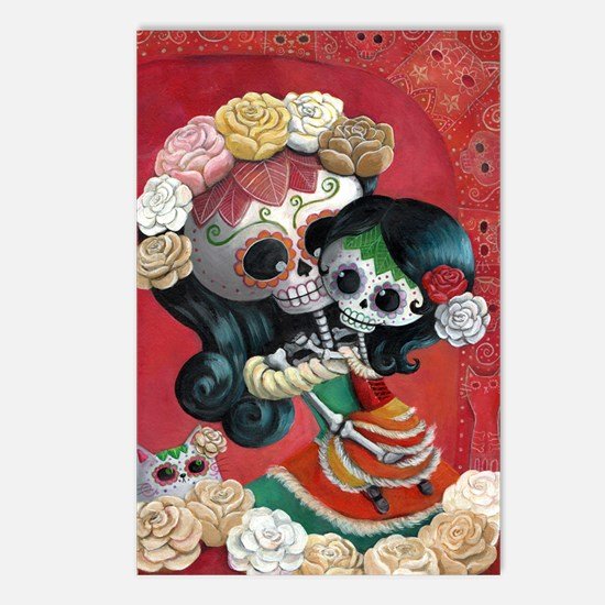 Mexican Skeletons - Mother with Daughter Postcards