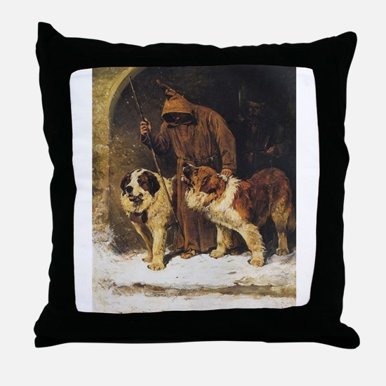 Monk and two St Bernards Throw Pillow