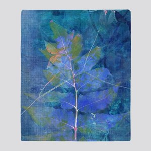 Blue art leaf Throw Blanket