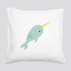 Narwhal Sea Whale Animal Square Canvas Pillow