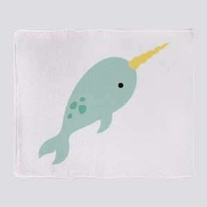 Narwhal Sea Whale Animal Throw Blanket