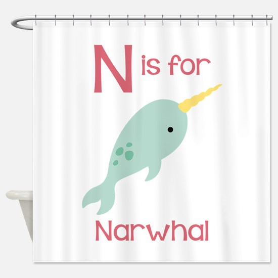 N Is For Narwhal Shower Curtain