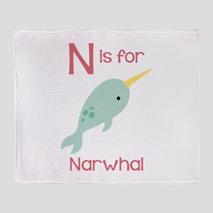 N Is For Narwhal Throw Blanket